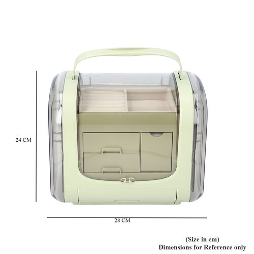 Olive Green Colour Innovative Jewellery Box with 2 side Doors and Removable Top