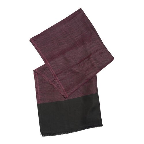 100% Cashmere Wool Purple and Black Colour Reversible Scarf with Fringes (Size 200X70 Cm)