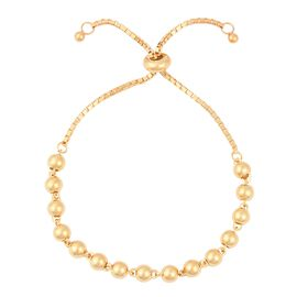 Adjustable Beaded Bolo Bracelet in Gold Plated Sterling Silver 6.01 Grams