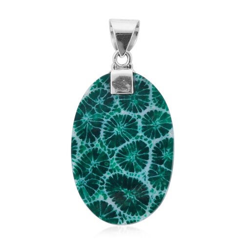 Royal Bali Collection - Green Sponge Coral Hand Pendant in Sterling Silver