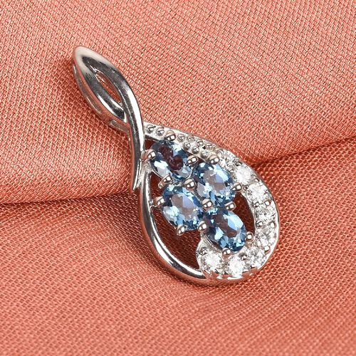 AA Santamaria Aquamarine and Natural Cambodian Zircon Ring in Platinum Overlay Sterling Silver