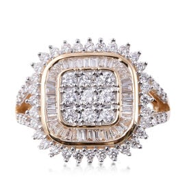 ILIANA 1 Ct Diamond Cluster Ring in 18K Gold 5.40 Grams IGI Certified SI GH