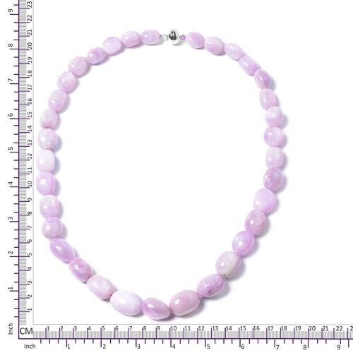 Extremely Rare Kunzite Necklace (Size 20) in Platinum Overlay Sterling Silver with Magnetic Clasp 528.500 Ct