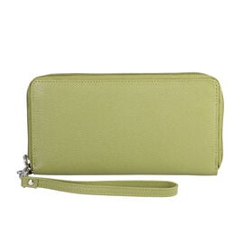 Super Soft 100% Genuine Nappa Leather RFID Clutch Wallet in Green (19.8x10.9cm)