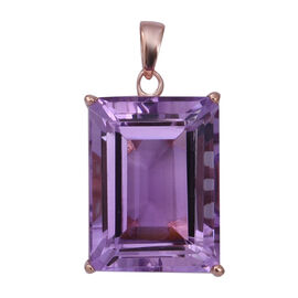21.5 Ct Rose De France Amethyst Solitaire Pendant in Sterling Silver