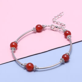 Red Agate Bracelet  (Size - 7.5 with 2.5 Extender) in Silver Tone 12.50  Ct.