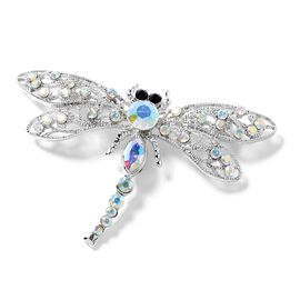Magic Colour Austrian Crystal (Rnd), Magic Colour Simulated Diamond and Black Austrian Crystal Dragonfly Brooch in Silver Tone