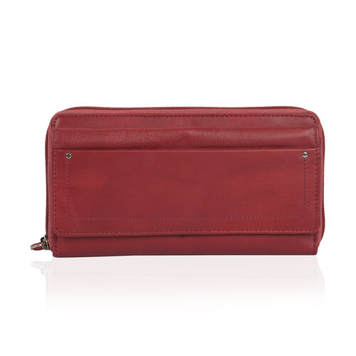 Super Soft 100% New Zealand Leather Burgundy Colour Clutch Wallet RFID Blocking  (Size 19X2.5X10 Cm