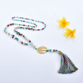 Multi Colour Howlite Tree of Life Tassel Necklace with Faceted Glass Beads 32 Inch