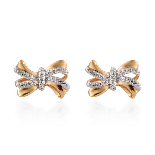 Diamond (Rnd) Bow Earrings (with Push Back) in 14K Gold and Platinum Overlay Sterling Silver