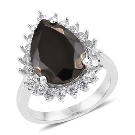 Elite Shungite (Pear 3.00 Ct), Natural Cambodian Zircon Ring in Platinum Overlay Sterling Silver 4.0