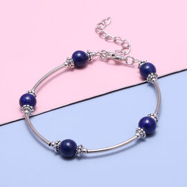 Lapis Lazuli Bracelet (Size - 7.5 with 2.5 Extender) in Silver Tone 12.50  Ct.