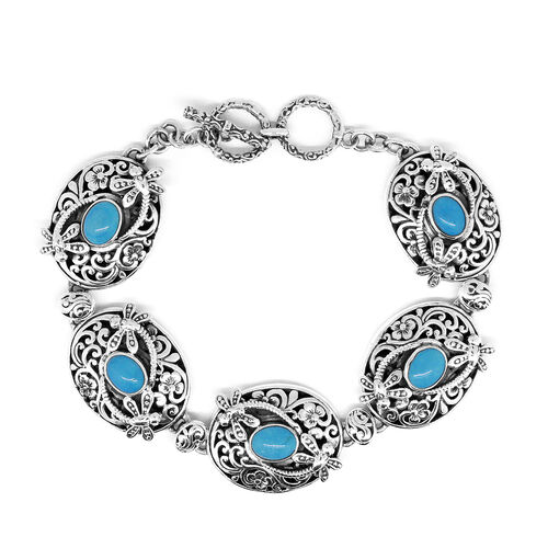 Designer Inspired- Sleeping Beauty Mojave Turquoise (Ovl) Dragonfly Bracelet (Size 8.5 with Extender) in Sterling Silver, Silver wt 35.10 Gms.