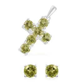 2 Piece Set  - Hebei Peridot (Rnd) Cross Pendant and Stud Earrings in Sterling Silver 2.750 Ct.