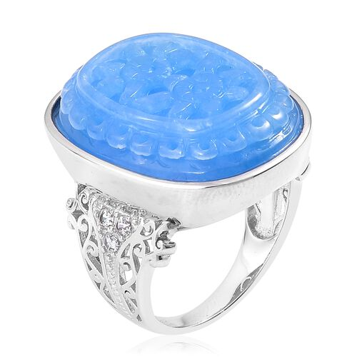 Floral Hand Carved Blue Jade (Ovl), Natural White Cambodian Zircon Ring in Rhodium Plated Sterling Silver 33.330 Ct. Silver wt. 6.93 Gms.