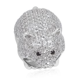 Natural White Cambodian Zircon (Rnd), Boi Ploi Black Spinel Bear Ring in Platinum Overlay Sterling S