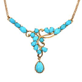 Arizona Sleeping Beauty Tuquoise Necklace (Size 18) in 14K Gold Overlay Sterling Silver 8.25 Ct, Sil