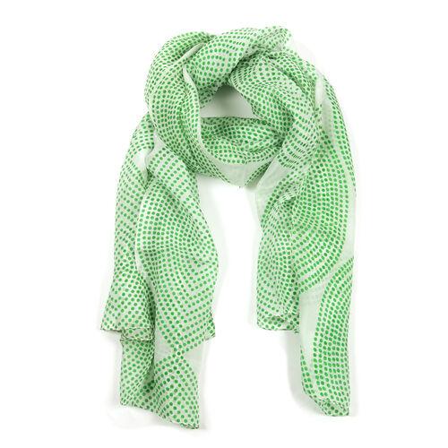 100% Mulberry Silk Green Dots Pattern White Colour Scarf (Size 180x100 Cm)