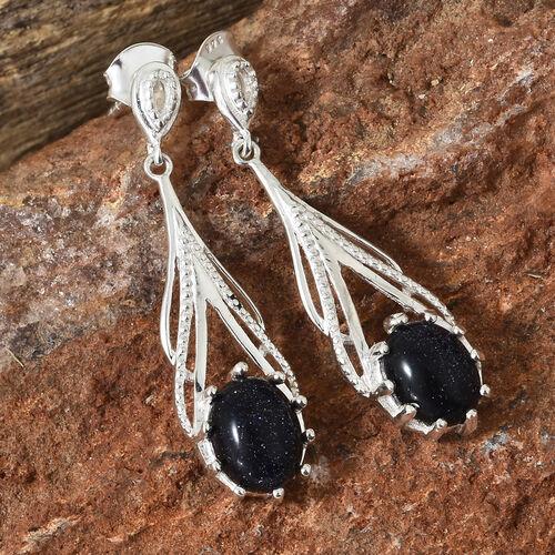 Blue Sandstone (Ovl) Dangle Earrings (with Push Back) in Sterling Silver 4.000 Ct., Silver wt 3.68 Gms.
