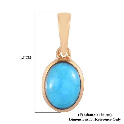 Arizona Sleeping Beauty Turquoise Solitaire Pendant in 14K Gold Overlay Sterling Silver 1.05 Ct.