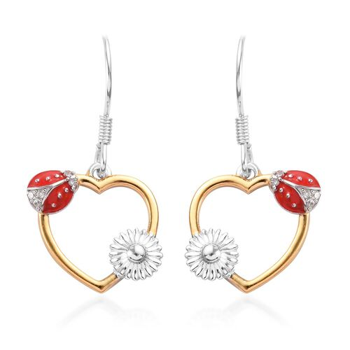 Natural Cambodian Zircon Ladybird Heart Hook Earrings in Platinum and Yellow Gold Overlay Sterling S