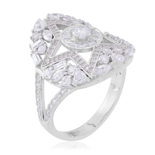 Cocktail Collection - ELANZA Simulated White Diamond (Rnd) Ring in Rhodium Plated Sterling Silver