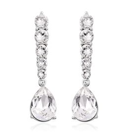 J Francis White Crystal from Swarovski Dangle Earrings in Rhodium Plated Silver