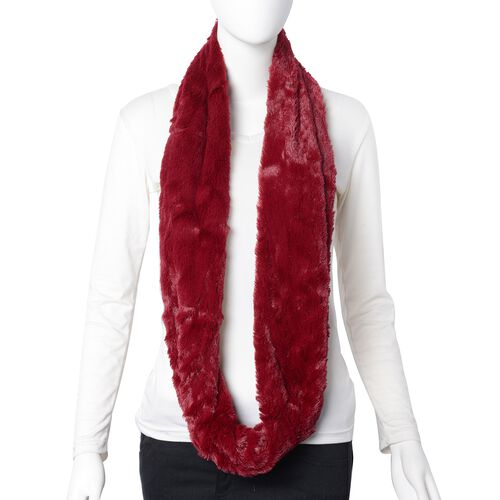 2 Piece Set - STRADA Japanese Movement Water Resistant Watch and Wine Red Colour Faux Fur Scarf (Size 156x18 Cm)