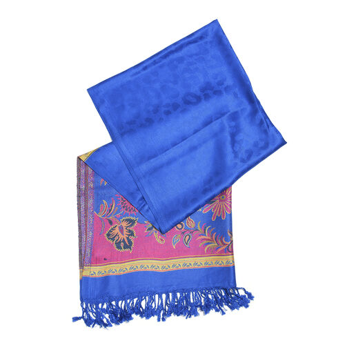Blue, Pink and Multi Colour Floral and Leaves Pattern Scarf with Tassels (Size 190X70 Cm)