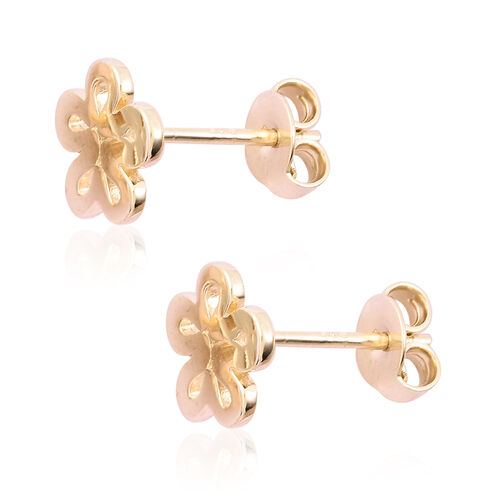 LucyQ Yellow Gold Overlay Sterling Silver Flower Stud Earrings (with Push Back)