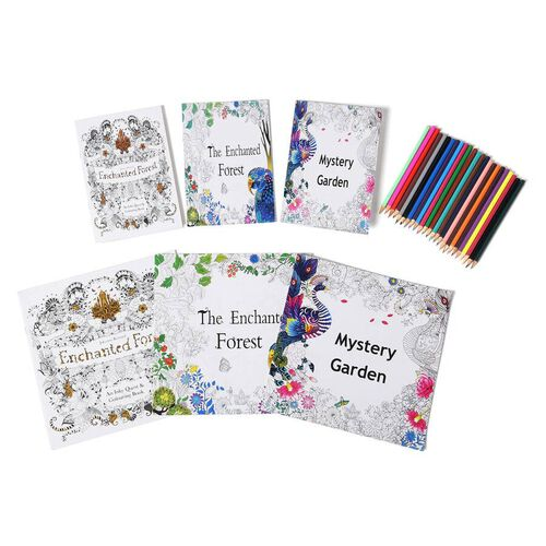 Set of 7 - Six Colouring Books with a Box of 24pcs Crayons (Mystery Garden, Enchanted Forest and The