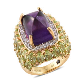 GP Amethyst (Cush 14x10 mm) Hebei Peridot, Natural Cambodian Zircon and Blue Sapphire Ring in 14K Go