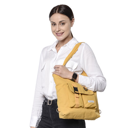 PASSAGE Yellow Colour 3-in-1 Tote Bag with Multiple Pockets(33x8x29cm)