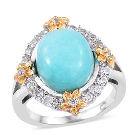 5.5 Ct Peruian Amazonite and Cambodian Zircon Halo Ring in Two Tone Plated Sterling Silver 4.61 Gms
