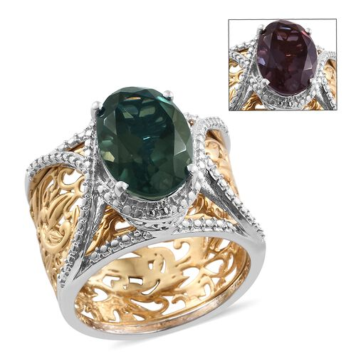 Colour Change Alexandrite Quartz (Ovl) Filigree 2 Ring Set in Platinum and Yellow Gold Overlay Sterling Silver 6.000 Ct. Silver wt 9.30 Gms.