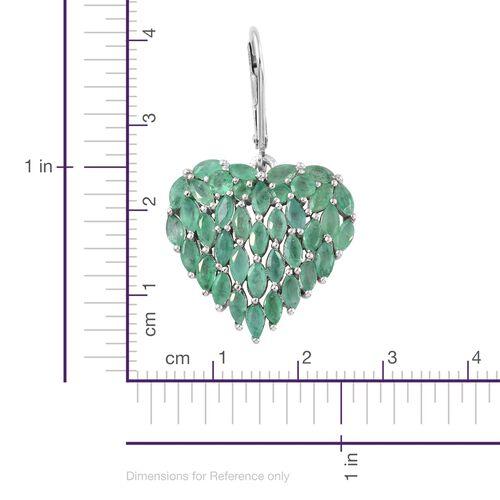 Designer Inspired Kagem Zambian Emerald (Mrq) Heart Lever Back Earrings in Platinum Overlay Sterling Silver 5.000 Ct. Silver wt. 5.88 Gms.