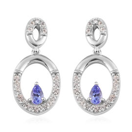 AAA Tanzanite and Natural Cambodian Zircon Dangle Earrings in Platinum Overlay Sterling Silver 1.25