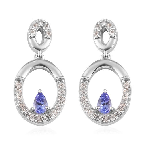 AA Tanzanite and Natural Cambodian Zircon Dangle Earrings in Platinum Overlay Sterling Silver 1.25 C