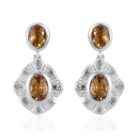 Citrine Dangle Earrings in Platinum Overlay Sterling Silver 1.50 Ct.