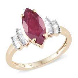 2.55 Ct AA African Ruby and Diamond Ballerina Ring in 9K Gold