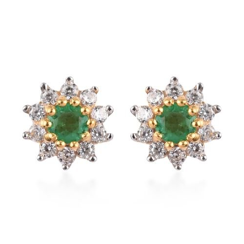 AA Premium Emerald and Natural Cambodian Zircon Stud Earrings (with Push Back) in 14K Gold Overlay S