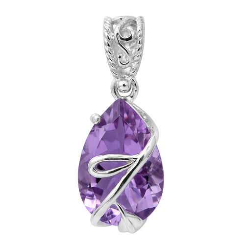 Mega Day Deal-Rose De France Amethyst (Pear) Pendant in Platinum Overlay Sterling Silver 4.760 Ct.