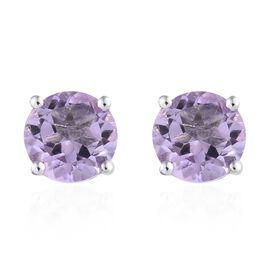 Rose De France Amethyst (Rnd) Stud Earrings (with Push Back) in Platinum Overlay Sterling Silver 2.5