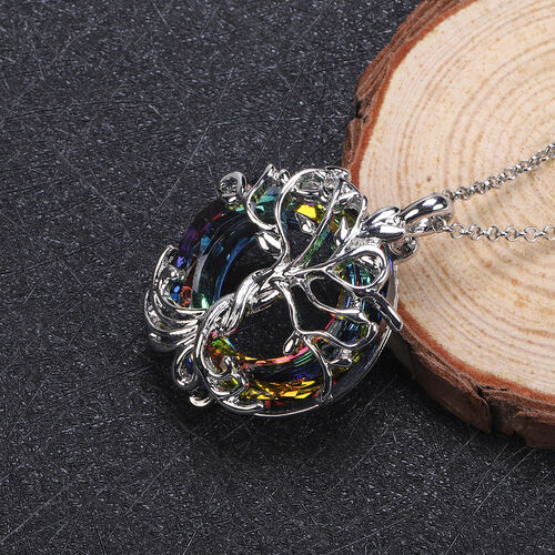 Simulated Mystic Topaz Pendant with Chain in Stainless Steel