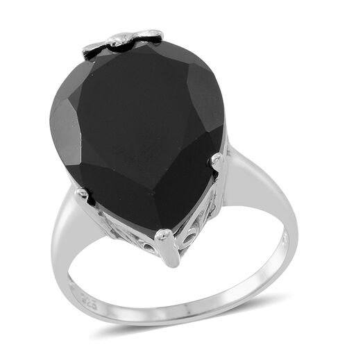 Boi Ploi Black Spinel (Pear) Ring in Rhodium Plated Sterling Silver 15.000 Ct.