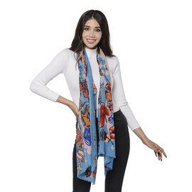 100% Merino Wool Multi-Pattern Scarf (Size 65x180cm) - Blue and Multi Colour