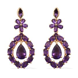 Designer Inspired- Lusaka Amethyst (Pear) Floral Earrings (with Push Back) in 14K Gold Overlay Sterling Silver 16.000 Ct. Silver wt. 10.35 Gms.