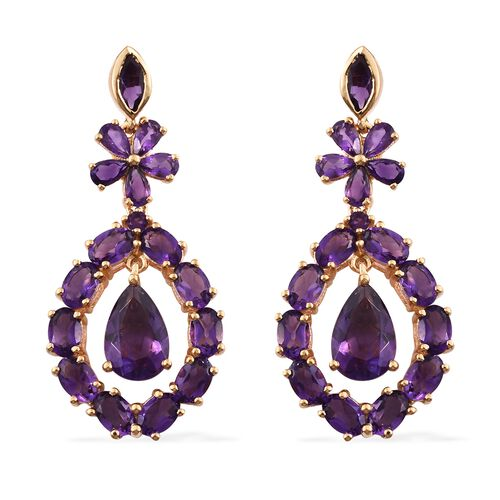 Designer Inspired- Lusaka Amethyst (Pear) Floral Earrings (with Push Back) in 14K Gold Overlay Sterl