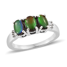 AA Canadian Ammolite (Ovl 6x4 mm), Diamond Ring in Platinum Overlay Sterling Silver.
