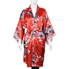 Red and Multi Colour Kimono with Peacock and Peony Pattern (Size 65x100 Cm)